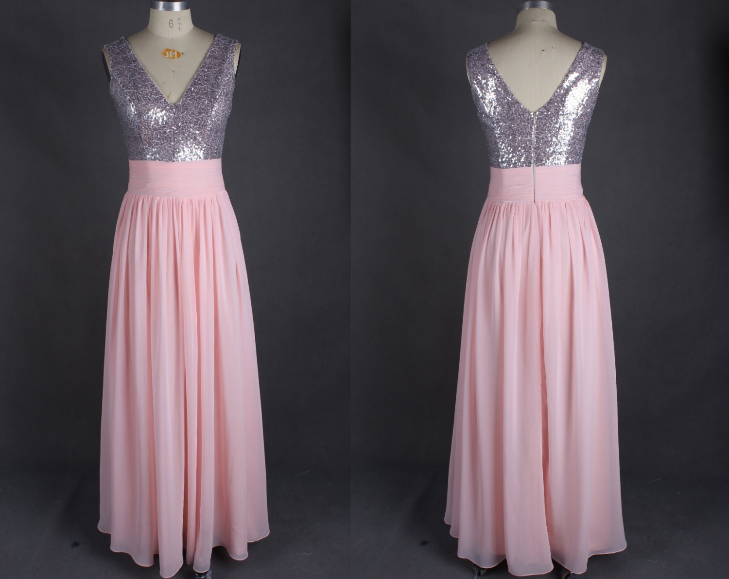 Pink Chiffon Bridesmaid Dress Sequin Long Modest by