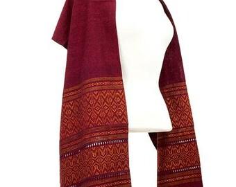 Zapotec cotton rebozo shawl, 'Red Zapotec Treasures'