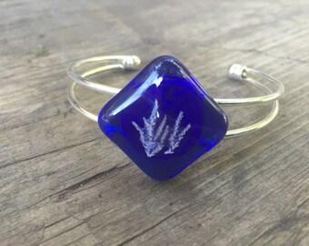Blue Fused Glass Bracelet, Blue nature bracelet, Blue Cuff Bracelet, Royal Blue Bracelet, Botanical Bracelet, Plant Bracelet , adjustable