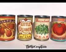 Set of four upcycled tin can vases with replicated vintage labels