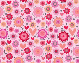 Lovebug Friends pink Valentine fabric by Riley Blake Designs Lovebug collection by Doodlebug designs pink heart flower print fabric
