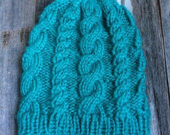 Custom Cable Knit Hat - Teal - Adult - Ready to Ship