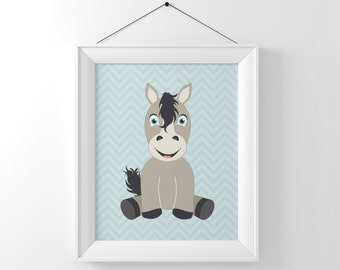 Baby Horse Illustration, Farm Animal Nursery Art, Horse Art Print, Pony Art, Nursery Decor, Boys Nursery Art, Baby Animals, Cute Horse,
