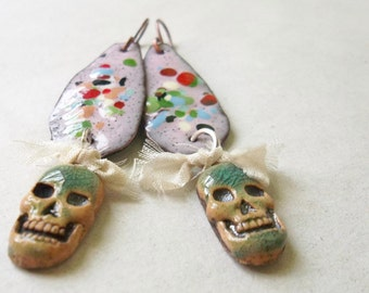 Skully earrings II-Torch fired recycled copper
