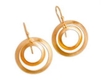 Gold Plated Sterling Silver Double Circle Earrings