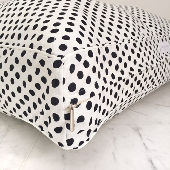 Washable Floor Pillows : Items similar to Floor Pillow, Bean Bag with Removable Washable Cover. White with Black Polka ...