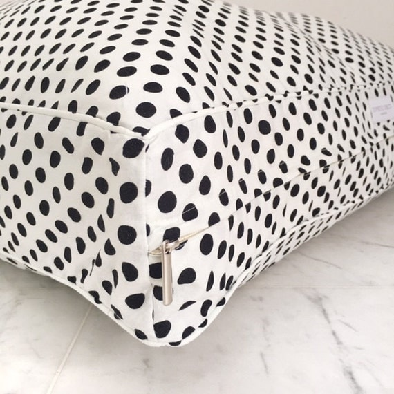 Floor Pillows With Washable Covers : Items similar to Floor Pillow, Bean Bag with Removable Washable Cover. White with Black Polka ...