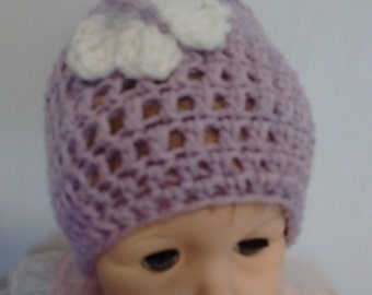 Lavender Preemie/Infant Hat-Beanie Hat-Butterfly-Photo Prop Hat