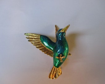 1970's Stunning King Fisher Bird Brooch