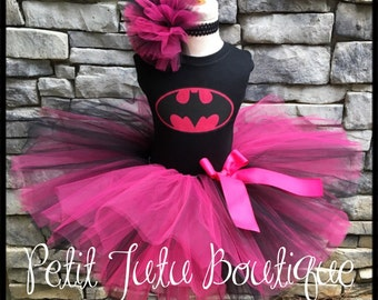 Batman Costume Birthday Tutu set sizes 12m to 8y  * FREE Headband