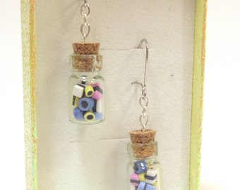 """Miniature candy, Earrings """"Saturday"""" hand made English Liquorice in clear bottles"""