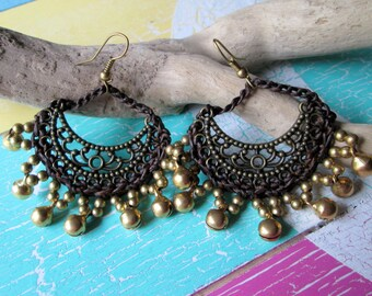 Earrings with bells * crocheted with beads * hippie * boho * Gipsy Festival style *.
