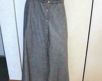 VTG Ann Taylor Gray Long Button Down A Line Skirt - 100% Cotton Size M EUC