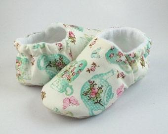 Time for tea! Little baby girl soft sole shoes in various sizes. pram shoe. pre walker, slip on shoe