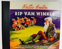 """Take 25% Off Sale Decca Records Rare Children's Two Disc Set of Walter Huston Walt Disney's """"Rip Van Winkle"""" 1946 Highly Collectable DA-432"""