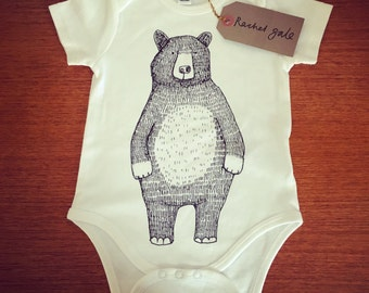 Lovely Organic hand screen printed Baby Grows/Body/Romper Suits. Made from ethical, fair trade cotton. Bear and T Rex designs available.