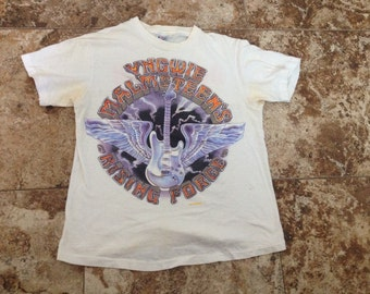 Vtg 80s YNGWIE MALMSTEEN'S Rising Force Odyssey Tour Small Shirt