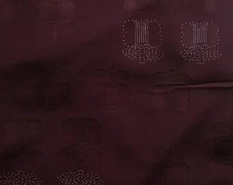 Vintage Japanese Silk Kimono Fabric Plum Camellia