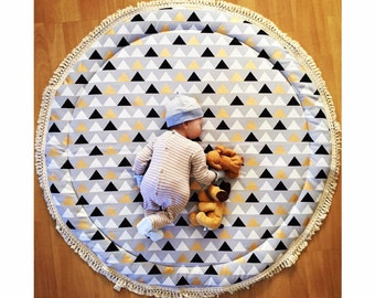 Baby Roundies Extra Padded Round Rug Tummy Time Play Mat Nursery Baby Blanket Blanky Flatlay Play Rug