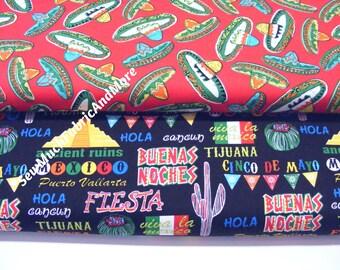 Festive Cinco De Mayo Fabric~by the yard~Sombreros~Viva La Mexico~2 designs~Kanvas Benartex~