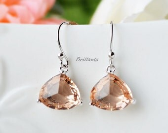 Champagne glass earrings in silver, Peach earrings, Bridesmaid jewelry, Bridesmaid gift, Wedding earrings