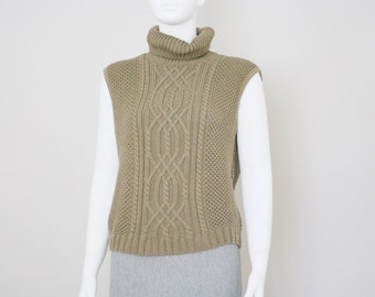 90s MARC CAIN army green cable knit turtleneck slipover / tank top