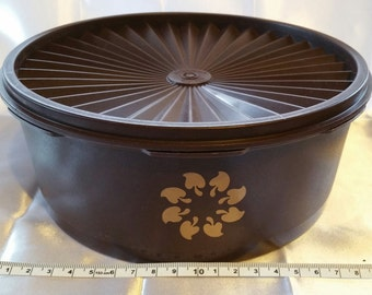 Hard to find Dk Brown Canister Container, with Servalier pleated lid