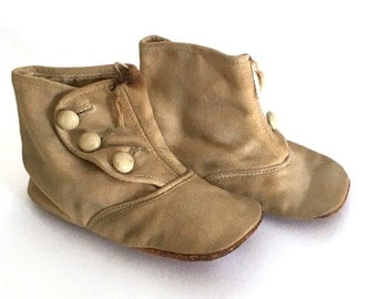 antique baby shoes, doll shoes, buttoned high top boots