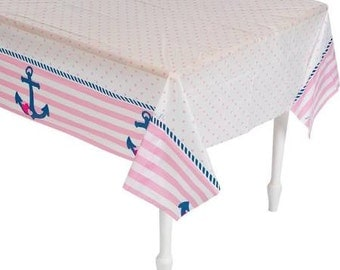 Sweet Nautical Girl Party Tablecloth