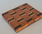 Cherry with cherry and walnut and maple basketweave end grain chopping board