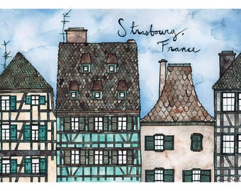 STRASBOURG FRANCE Print 11X14 Ink and Watercolor Painting