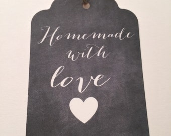 Set of 6 Chalkboard Handmade With Love Wedding Thanksgiving Christmas Wedding Gift Tags Favor Tags