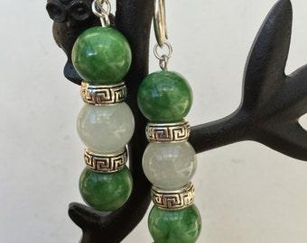 White and Green Jade Bead Earrings