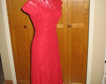 Red Lace Dress with 3 Rosettes on Low Back, Fully Lined, Size Small, Vintage 1990's