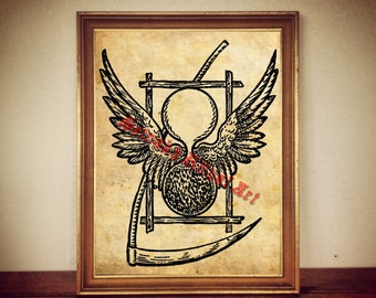 Sand clock and scythe print, occult illustration, masonic poster, fantasy art, wings, occult symbol, esoteric picture, memento mori #284