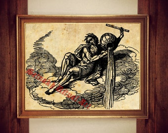 Aquarius print, New Age symbol illustration, occult poster, magic decor #309