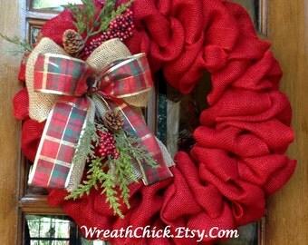 Burlap Wreath, Winter wreath, Christmas wreath, Rustic country Christmas, Red Burlap,  Holiday wreath, Christmas door wreath