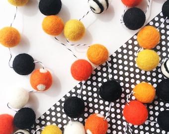Halloween woolie ball garland