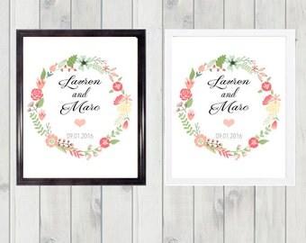 Wedding print- wreath