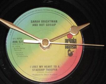 "Sarah Brightman & Hot Gossip i lost my heart to a starship trooper  7"" vinyl record clock"