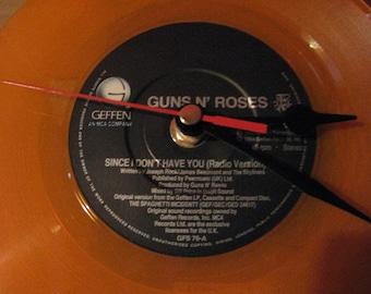 "Guns n roses since i don't have you 7"" orange vinyl record clock"