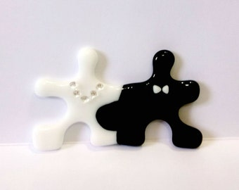 Puzzle Wedding Cake Topper Bride and Groom, Symbol of Perfect Match, Centerpiece / Gift