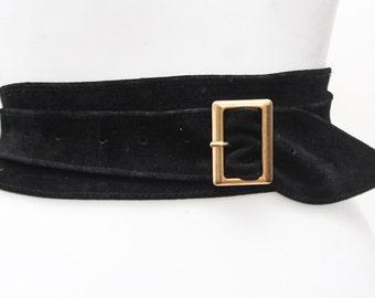 Black Suede Obi Buckle Belt   Black Belt   Corset Obi Belt   Suede Buckle Belt   Plus Size Belts