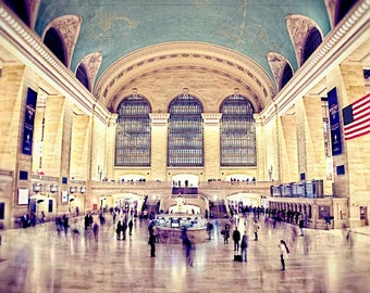 New York City Photography, Grand Central Station, travel photography, New York City, architecture, home decor, gold, urban decor, teal decor