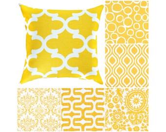 Yellow White Throw Pillow.Yellow Euro Sham.Damask Cushion Cover.Yellow Decorative Pillow.Yellow White Toss Pillow.Couch Pillows