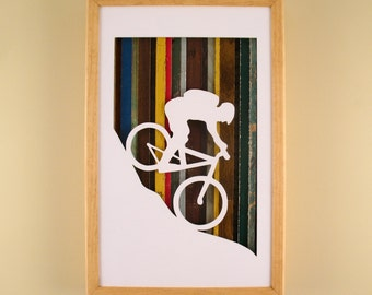 """Mountain Biker- 17"""" by 11"""" Recycled Wood Silhouette Wall Art"""