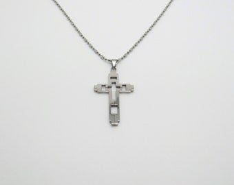Cross Pendant-Biker Cross-Biker Jewelry-Steel Cross-Mens jewelry- Steel Cutout Cross Pendant