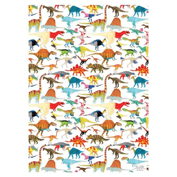 Dinosaurs Gift Wrapping Paper Four Sheets By ChaComLetras