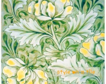 Lovely William Morris Yellow Peony flower design small ceramic tile drink coaster kitchen bathroom splash backs fireplace tile plant stands