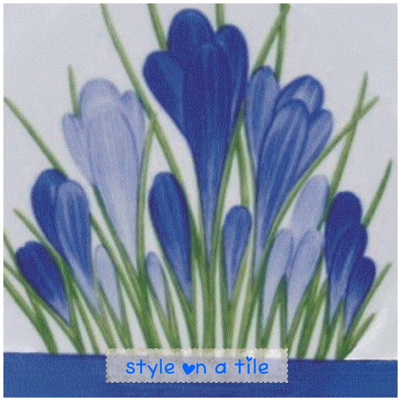 Lovely Clarice Cliff Blue Crocus large ceramic tile trivet kitchen ...